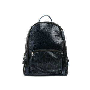 Black and Navy Leopard Backpack