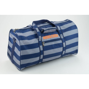 Grey and Navy Striped Duffel