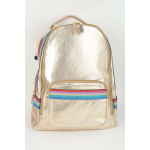 Rainbow Stripe Backpack - Gold rainbow stripe