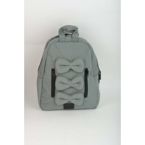 Mini Bow Back Pack - Grey canvas
