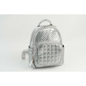 Mini Backpack - Multi Quilted Silver