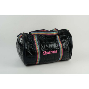 Black Puffy Duffle With Stripe Handles